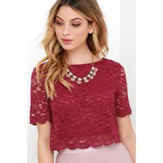 When You Believe Wine Red Lace Crop Top ($35) ❤ liked on Polyvore featuring tops, red, floral lace top, sheer top, sheer lace top, short sleeve lace top and crop top