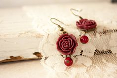 Elegant Red Earrings Burgundy Flat Resin by BeautyfromashesUSA Red Earrings, Flower Earrings, Handmade Jewelry, Unique Jewelry, Handmade Gifts, Resin Flowers, Unique Cards, Glass Beads