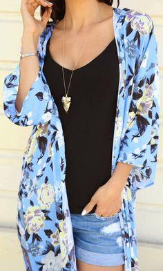 Windsor Blue Women's Floral Print Fringe Kimono by The Honeybee