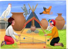 """From """"Teaching about Inca Children & Families, Libby VanBuskirk."""" Two children are making a loom for weaving. The process is called """"warping"""" or """"setting the warp."""" In Inca back-strap weaving a new loom has to be made for each new project. Painting by Angel Callanaupa Alvarez, illustrator of the upcoming book """"Beyond the Stones of Machu Picchu: Folk Tales and Stories of Inca Life."""""""