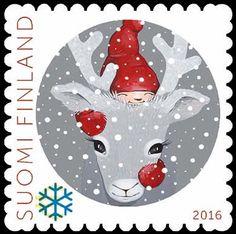 Kotimaan joulutervehdyksiin tarkoitettu Juokse porosein –postimerkki on helsinkiläisen Sari Airolan käsialaa. (Ilmestymispäivä 10.11.2016)