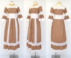 1960s Mexican Maxi Dress Vintage 1970s Cotton Hippie Gown Pintucks Lace S