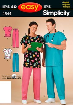 Its So Easy Sewing Patterns : : Simplicity Patterns : Misses / Mens Scrubs