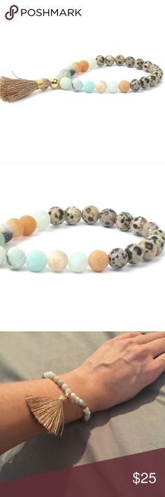 Dalmatian Stone Tassel Bracelet Brand new 5 in stock. Dalmatian stone tassel bracelets. Natural raw matte semi precious jasper. Stretchy material to fit any size. Handcrafted in USA. This listing is for one Twilight Gypsy Collective Jewelry Bracelets