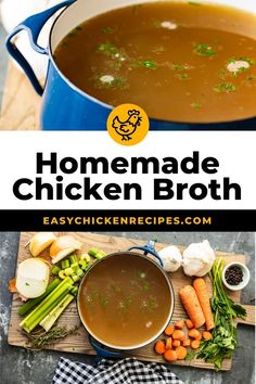Homemade Chicken Broth is so easy to make, you won't need to buy it from the store anymore. This delicious chicken broth recipe is made with lots of vegetables, spices, and chicken to create the perfect flavor. Learn how to make chicken broth and use it in all of your soups this winter season! #chickenbroth #wintersoups #comfortfood #homemadebroth