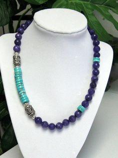 Collar de Jade y turquesa  turquesa y púrpura collar de por irideae