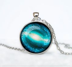 Spiral  galaxy pendant GALAXY NECKLACE Messier 100 UNIVERSE  necklace Space universe  Art Gifts for Her for men for him and hers