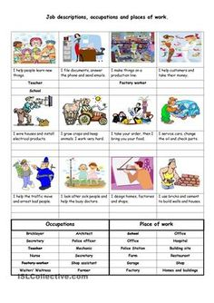 Students to read the descriptions then write the occupation and normal place of work using the given vocabulary at the bottom of the page. Part 1 of 4 - ESL worksheets
