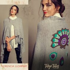Florencia Llompart Fabrics Winter 2016 – Sweaters, Vests and Ponchos - Everything About Knitting Crochet Fashion, Diy Fashion, Crochet Cardigan, Knit Crochet, Mexican Fashion, Peacock Pattern, Poncho Shawl, Wool Embroidery, Knitted Blankets
