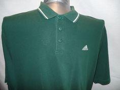 Adidas Green Golf Polo Rugby Shirt XL SS 100% Cotton Men Beige Byron Nelson #ByronNelson #PoloShirt