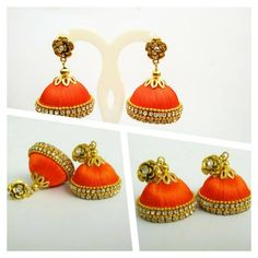 a very beautiful silk thread jhumka  , embelished with stones and gold beads.. perfect for any occassion... Plz visit our page https://m.facebook.com/ankaa.creations and hit a like button. Thank you