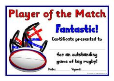 Tag Rugby award certificates