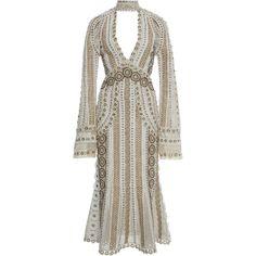 Jonathan Simkhai Gladiator Embellished Cutout Dress (€1.980) ❤ liked on Polyvore featuring dresses, cut out dresses, brown dress, cut out cocktail dresses, plunge dress and cutout dresses