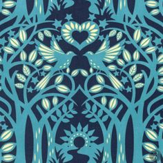 Hello LOVE Norwegian Wood Fabric - Midnight