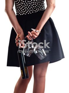 The young woman with a bottle of wine and two glasses Photo Illustration, Young Women, Royalty Free Images, Stock Photos, Wine, Glasses, Woman, Bottle, Fashion