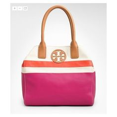 dipped Canvas Mini Beach Tote Tory Burch ❤ liked on Polyvore