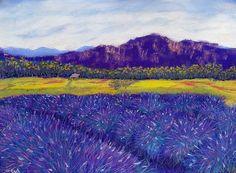 Lavender Field, Washington - W. R. Adams Fine Art #pastelpainting #pastel #contemporaryart #art #impressionist #landscape #wallart #artforthehome #WendyAdams #WRAdamsFineArt #drawing #originalart #natureart #floral #lavender #purple #blue #white #yellow #green #flowerfield