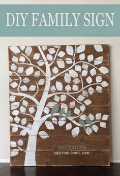Perfect wedding gift. Or wedding guests could stamp leaves on instead of signing a guest book . Family tree art personalized custom tree birds wood handmade diy mantle decor idea.