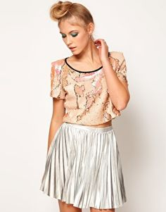Lashes Of London Crop Top with Textured Sequin Back Detail - love the hair for party
