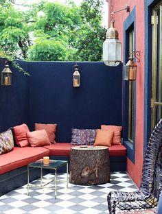 Les plus belles terrasses de Pinterest - Bleu nuit et corail