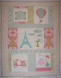 "Quilt Pattern, Baby Girl or Little Girl Quilt, Applique, Everything a girl needs for a trip to Paris"", detailed instructions and templates. $5.00, via Etsy."