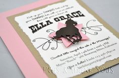 Cowgirl Invitation for Girls Western Horse or Pony Birthday Party-cowgirl horse pony Rodeo Party, Cowboy Party, Horse Party, Horse Birthday Parties, Cowgirl Birthday, Birthday Party Themes, 2nd Birthday, Birthday Ideas, Cowgirl Invitations