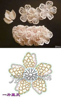 Crochet Flowers Patterns/Patrones de flores a crochet - Ugh Tsi Freeform Crochet, Crochet Diagram, Crochet Motif, Crochet Stitches, Crochet Leaves, Crochet Flowers, Irish Crochet Patterns, Crochet Flower Tutorial, Crochet For Kids