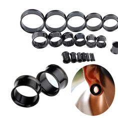32pcs /Lot Stainless Steel Saddle Ear Tunnel Plug Earring Black Plated Ear Expander Gauages Double Flare Piercing Jewelry