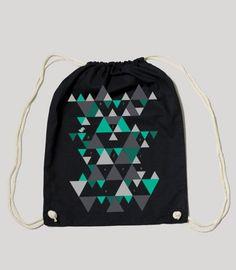 "Gym Bag / Turnbeutel Black ""Triangle Pattern Turquoise"" auf Etsy, $14.90"