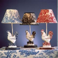Small Rooster Lamp - Black, Blue, or Red.  I love the toile shades!  This cute lamp would be perfect in my country style red white and blue future family room.