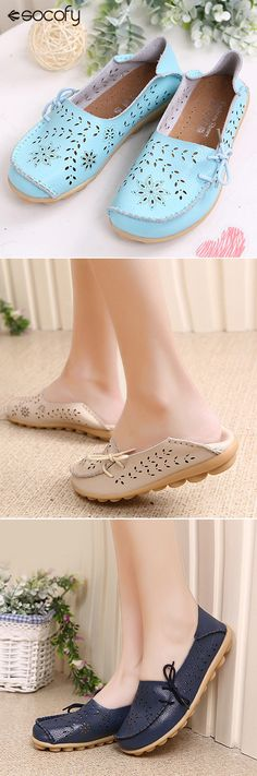 US$16.03 Big Size Leather Hollow Out Floral Breathable Soft Comfy Lace Up Flat Shoes