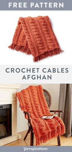 Afghan Patterns Crochet this cozy chenille-style afghan for your home in Bernat Blanket yarn. Bernat Blanket Patterns, Afghan Crochet Patterns, Knitting Patterns, Knitting Stitches, Crochet Cable, Knit Or Crochet, Learn Crochet, Crochet Gifts, Crochet Afgans