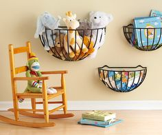 Better Homes & Gardens | Garden Baskets  Add some garden baskets, typically used for plants and flowers on porches, to your nursery or children's room to hold toys and stuffed animals. Keeping them lower to the floor will allow easy access for tiny tots. You could leave the baskets as they are, or spray paint them to match your décor. It also works as an accessories organizer in the bedroom for scarves or baseball caps, or add a few to your classroom or home office for additional wall storage