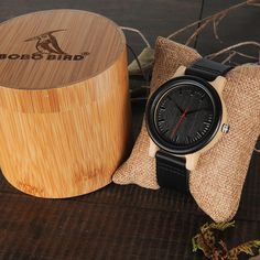 2c23e60f04be BOBO BIRD High Quantity Wooden Quartz Watch with Real Leather Strap w/ Gift  Can