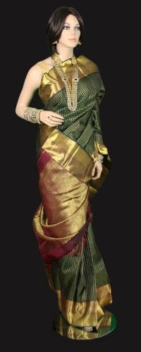 Green Zari Checks Kanjeevaram Saree