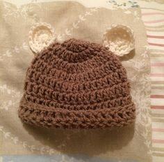 Crochet baby bear hat