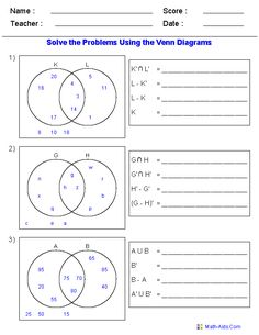 Venn Diagram Worksheets - Set Notation Problems Using Three Sets ...