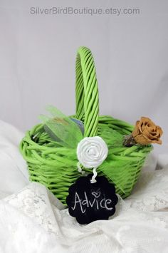 Wedding Basket, Alternative Guestbook, Advice Bride and Groom Basket, Chalkboard Tag, Lime Green Apple, Tulle Bow, Bridal Advice Gift by www.SilverBirdBoutique.etsy.com