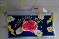 Brainstorm Light Up Classroom Bulletin Board Idea Science Bulletin Boards, Classroom Bulletin Boards, Science Classroom, School Classroom, Classroom Walls, Classroom Design, Classroom Themes, School Displays, Classroom Displays