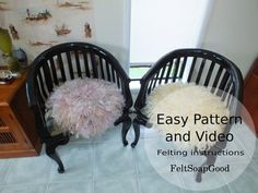 Felting Pattern (Set of Instructions and Video) making felted chair pad or little rug PDF pattern Beginers design by FeltSoapGood