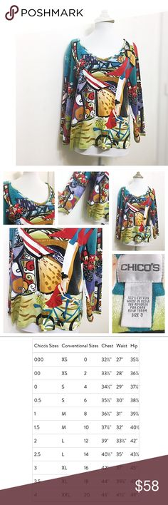 Chico's V Neck Blouse Top Trendy & Stylish Fashion Beautiful street style knit top! lightweight V-Neck blouse, so happy & whimsical, perfect for spring & summer! Great for work, school, church, vacations, everyday wear... • Stylish & Chic! Multi color, purple, black, white, lime green, tan, red, teal & turquoise, aqua. Fun flowers print pattern, with a girl on a bike • cotton material, light sweater type • Size 3, XL / 16 according to their chart • Smoke & cat free home! • God bless & happy…