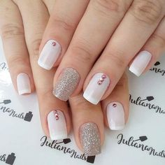 Nails design pink white manicures ideas for 2019 Elegant Nails, Stylish Nails, Trendy Nails, Cute Nails, Rose Gold Nails, Pink Nails, Gel Nails, Nail Polish, Stiletto Nails