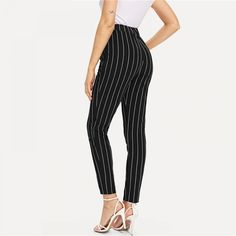 41ffdd6d4c Elastic Waist Pinstripe Cigarette Pants Price: 38.94 & FREE Shipping  #womenclothes Trousers Women