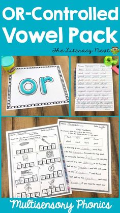 Orton-Gillingham Phonics Multisensory Activities R-Controlled Vowels OR Vowel Practice, Phonemic Awareness Activities, Literacy Programs, Word Study, Word Work, Teaching Techniques, Spelling Activities, Gillingham, Teaching Kindergarten