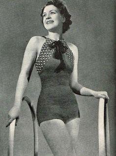 Vintage Crochet ladies elegant swimsuit,swimming costume, to make Vintage Knitting, Vintage Crochet, Swimsuit Pattern, Vintage Swimsuits, Swimming Costume, Vintage Lingerie, Vintage Patterns, Bathing Suits, Brigitte Bardot
