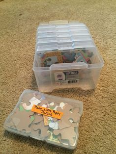 Compact Storage for Jigsaw Puzzles - The Organized Mom - - Jigsaw puzzles are a huge storage hog. Here are two solutions that will easily provide compact storage for jigsaw puzzles. Puzzle Organization, Puzzle Storage, Toy Storage, Organization Hacks, Daycare Storage, Kids Craft Storage, Board Game Storage, Toy Craft, Ikea