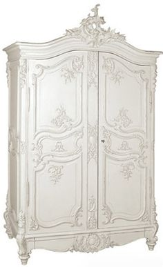 Classical White Heavy Carved Armoire