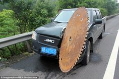 Terrifying: A large circular blade sliced through Mr Xiang's car while he was driving on a motorway in China