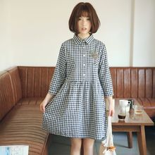 Nycto - Tree Embroidered Gingham 3/4 Sleeve Shirt Dress