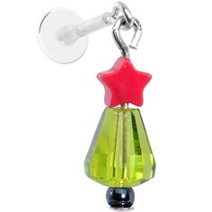 Handcrafted Christmas Tree Dangle Tragus Earring #bodycandy #tragus #christmas $4.99